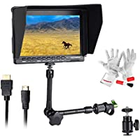 Feelworld FW759 7 inch Ultra HD 1280x800 IPS Screen Camera Field Monitor for BMPCC with 11 Magic Adjustable Arm and 15mm Rod Clamp