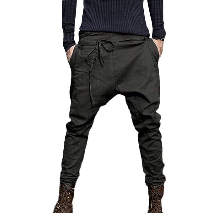 4a2e5575d1269 Invierno Pantalones Largo Hombre Pantalón Deportivo Suelto Casuales Jogger  Hip Hop Estilo Urbano Chándal de Hombres con Cinturón Elástico Regular-Fit   ...