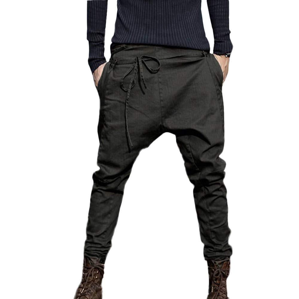 PASATO Clearace Sale! Mens Fashion Autumn Joggers Patchwork Casual Drawstring Sweatpants Work Trousers(Black, M)