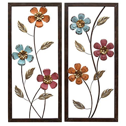 Stratton Home Decor S02205 Floral Panel Wall Decor, 14.00 W X 1.00 D X 32.00 H, Multi ()