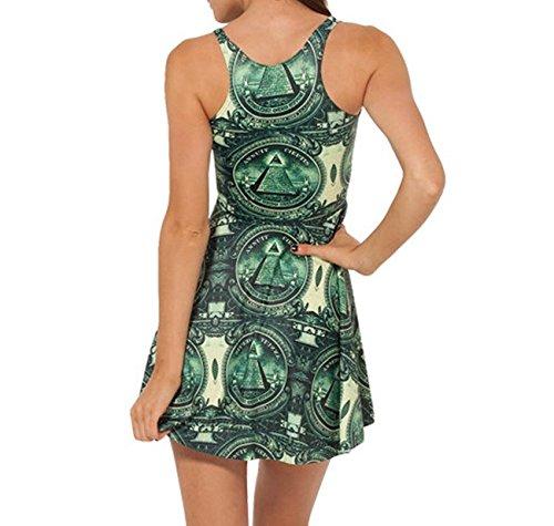 JTC une Vert en Sans Taille Femme Robe Seul Polyester Manche Fibre Fille Court zwrzpWHq