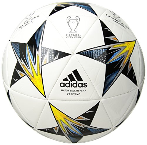 adidas Champions League Finale Kiev Capitano Soccer Ball, White/Yellow/Blue, Size -