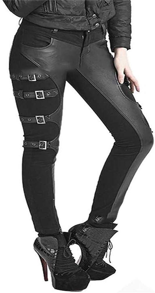 Leggings de Costura de Punk Rock gótico para Mujer Pantalones de lápiz Negro Femenino Pantalones de Cuero