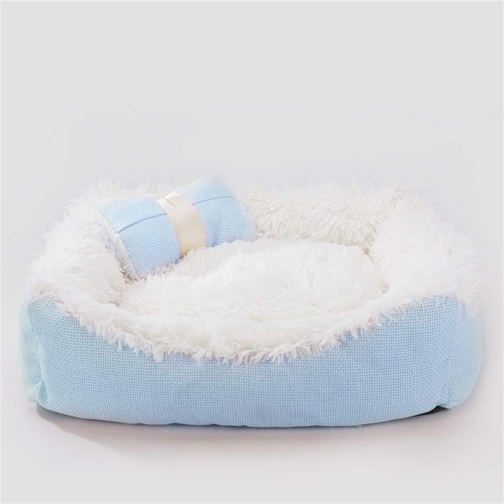 bluee M bluee M Dog Bed, Soft Washable Plush Fabric Cushion Warm Pet Basket Pet Sofa Dog House Pet Nest (color   bluee, Size   M)