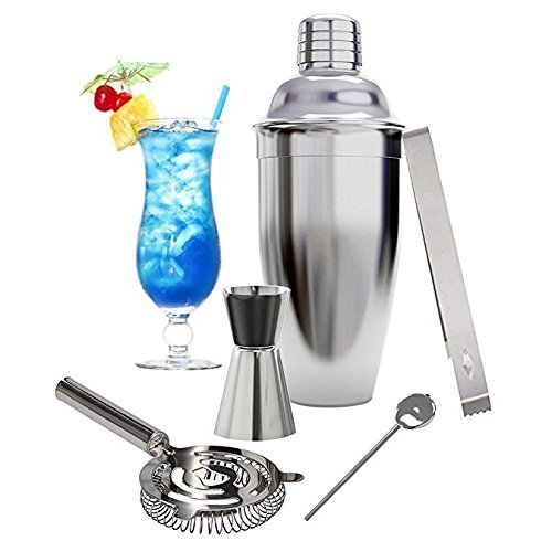 Cocktail Shaker Bar Set, INKERSCOOP 18 Ounces Martini Kit 5 Pieces Stainless Steel Bartender Tools Accessories with Measuring Jigger Mixer Ice Strainer Gifts Set - Silver