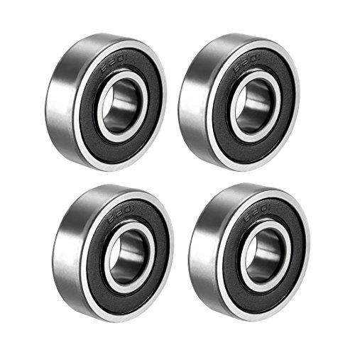 - uxcell 6201-2RS Ball Bearing 12mm x 32mm x 10mm Double Sealed 180201 Deep Groove Bearings, Carbon Steel (Pack of 4)