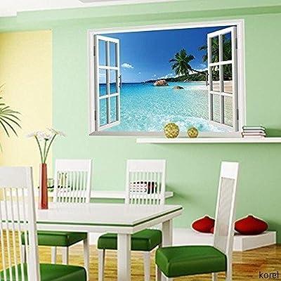 Korel Removable Beach Sea 3d Window Decal Wall Sticker, 60x90-cm