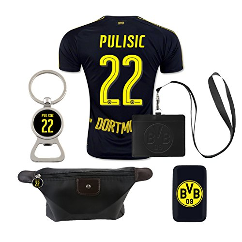 09 Replica Jersey (#22 Pulisic (6 in 1 Combo) Dortmund Away Match Adult Soccer Jersey 2016-17)
