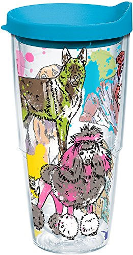 (Tervis 1167689 Dog Day Insulated Tumbler with Wrap and Turquoise Lid, 24oz, Clear)