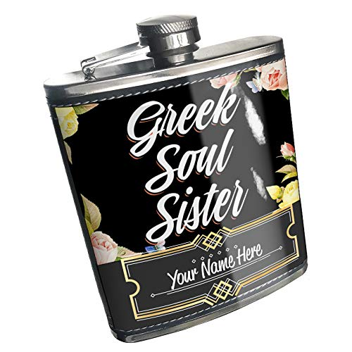 Neonblond Flask Floral Border Greek Soul Sister Custom Name Stainless Steel
