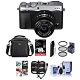 Fujifilm X-E3 Mirrorless Camera (Silver) with XF 23mm f/2 R WR Lens (Black) - Bundle With e With Camera Case, 16GB SDHC U3 Card, 43mm Filter kit, Cleaning Kit, Memory Wallet, Card Reader & More