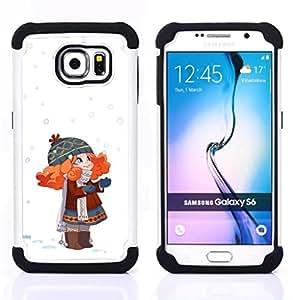 For Samsung Galaxy S6 G9200 - LITTLE GIRL WINTER HAT ART RED HAIR GLOVES Dual Layer caso de Shell HUELGA Impacto pata de cabra con im??genes gr??ficas Steam - Funny Shop -