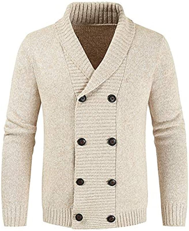 Karmder Męskie Winter Wolle Cardigan Sweater Zweireihiger Cashmere Cardigan Sweater mit V-Ausschnitt: Odzież