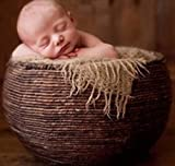 AiXiAng Newborn Baby Photo Props Basket Infant Photography Prop Handmade Woven Round Basket