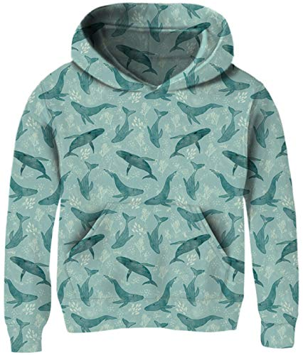 Boy Girl Blue Sweatshirts Size 9-12T Hoodie Dolphin Animal Graphic Navy Jacket Long Sleeves Big Pocket Crewneck Cool Funny Pullover Sweater Causal Comfy Stretch School Party Christmas Fall Teen Wear
