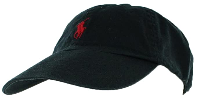 f02e16078 Ralph Lauren Mens Pony Logo Hat Cap Black Red at Amazon Men s ...