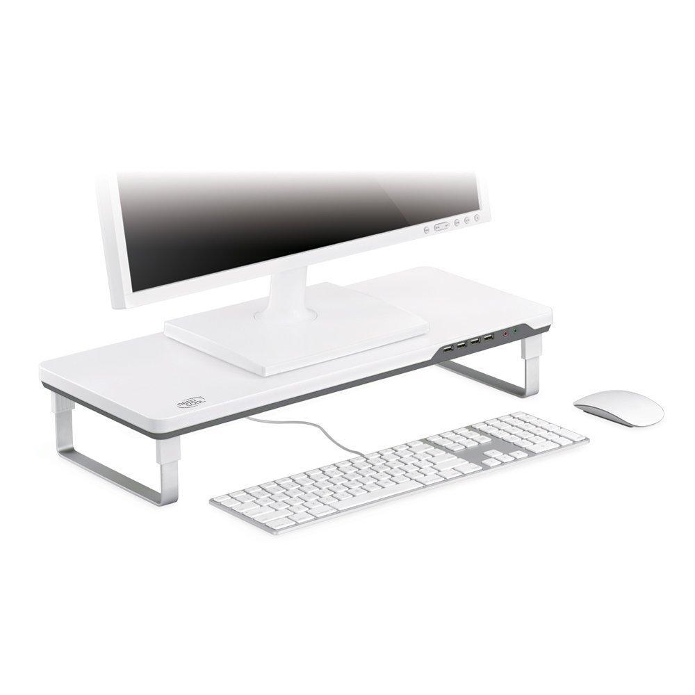 DeepCool Smart Supporto per Monitor Regolabile con 4 Porte USB e Porte per Cuffie//Microfono Prolunga Colore Grigio e Bianco