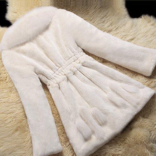CHENGYANG Femmes Fourrure Parka en Blanc 1 Chaud Manteau Veste Blouson Hiver Fausse Manteaux HHwxTr5X