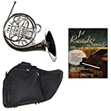 Band Directors Choice Silver Plated Double French Horn Key of F/Bb - First Recital Series French Horn Pack; Includes Intermediate French Horn, Case, Accessories & First Recital Series French Horn Book
