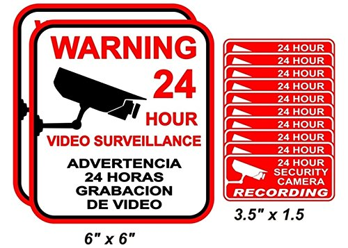 12-Pcs Momentous Unique Warning 24 Hour Video Surveillance Stickers Decal Sign Window Reflective CCTV Security 24Hr Business Home Trespassing Protected Under Cameras Protect 2-Large 10-Small - Pitbull Shades