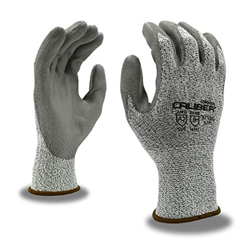 12 Gauge Caliber - CORDOVA SAFETY 3716GM CALIBER SALT & PEPPER 13-GAUGE HPPE SHELL, GRAY POLYURETHANE PALM COATING, ANSI CUT LEVEL A2 SIZE MEDIUM SAFETY GLOVES (12 Pairs)