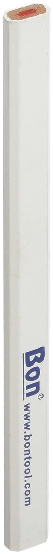 Bon 14-859 - Juego de lá pices de carpintero (mina media de color rojo, 17,8 cm, 12 unidades), revestidos en color blanco