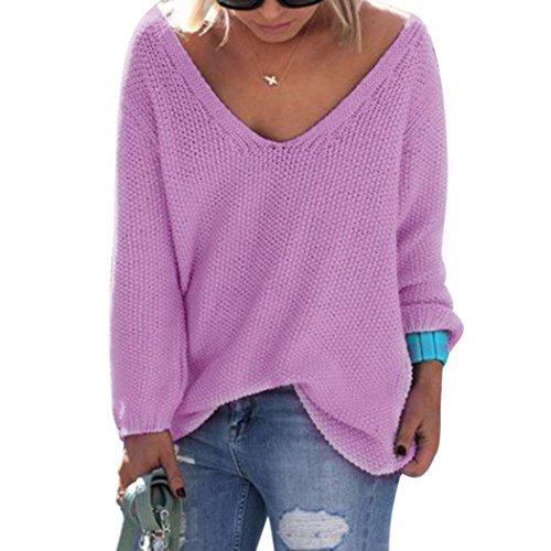 Pullover Damen Herbst Winter sexy Pulli Strickpullover in verschiedenen Farben Lila