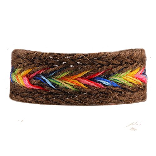 - Winter's Secret Handmade Braided Seven Rainbow Color Brown Hemp Rope Wrap Charming Adjustable Bracelet