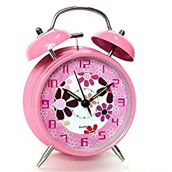 hito 4 Silent Non-ticking Alarm Clock w/Loud Alarm and Nightlight- Flower Pink