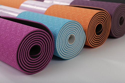 A Tiny Bit Fit Yoga mat with a Double Layer Thick 6mm eco-Friendly Non-Toxic TPE Material for an Anti-Allergic and Anti-Slip Exercise mat Used by Professionals