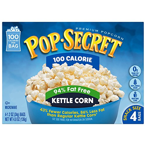 Pop Secret Microwave Popcorn, 100 Calorie 94% Fat Free Kettle Corn, 4 Count (Pack of 12) (Unpopped Popcorn Gift Baskets)