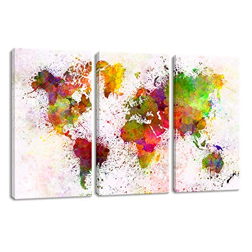 (KALAWA Abstract Landscape Water Color map Poster Printed on Canvas with Frame World Map Decal for Living Room Bedroom Stretched Ready to Hang (16