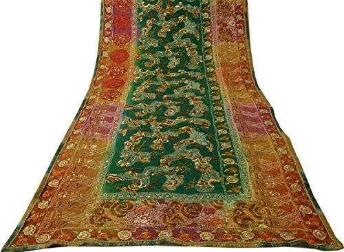 Georgette Silk Beaded - Heavy Vintage Sari 100% Pure Georgette Silk Hand Embroidered Beaded Fabric
