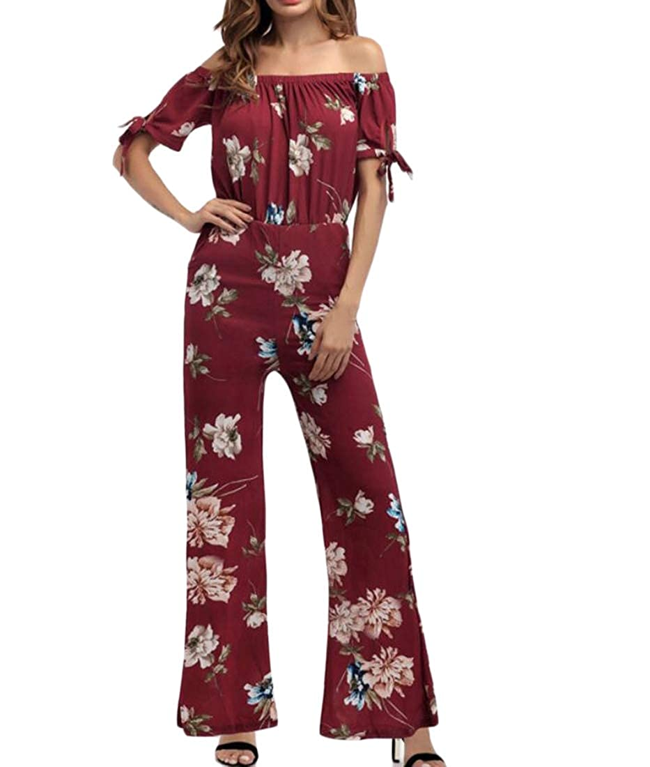 HTOOHTOOH Womens Strapless Casual Wide Leg Palazzo Pants Tie Chiffon Jumpsuits Rompers
