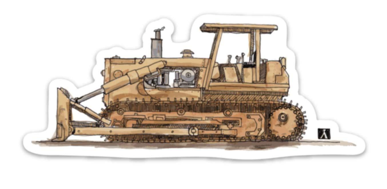 Construction Bull Dozer Pen /& Ink Watercolor Vinyl Sticker Illustration BellavanceInk