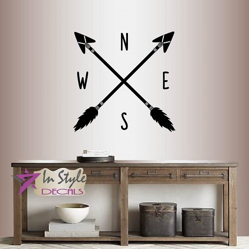 Wall Vinyl Decal Home Decor Art Sticker Compass Crossed Arrows East West North South Hipster Room Removable Stylish Mural Unique Design 2500