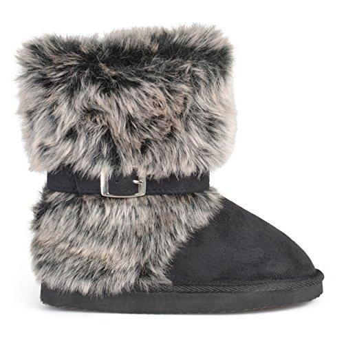 Brinley Co Kids Buckle Accent Faux Fur Boots Black (Girls Faux Fur Boots)