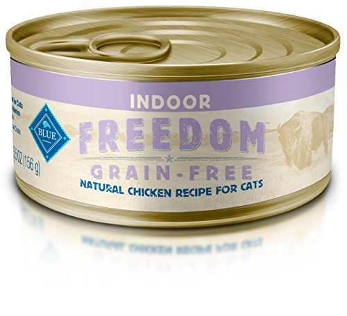 Blue Buffalo Freedom Grain Free Natural Adult Pate Wet Cat Food, Indoor Chicken 5.5-oz cans (pack of 24) (The Best Wet Cat Food For Indoor Cats)