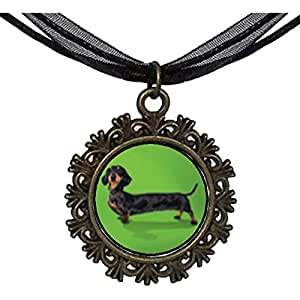 Chicforest Bronze Retro Style Weiner Dog Round With Flower Lace Pendant