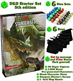 Dungeons and Dragons Starter Set 5th Edition Board Games - Dice in Black Bag Kit - Gift Fun D&D Rolling Board Game for Adults - New Adult Magic Board Game 5e Kit for Beginner Popular Book Pack Die