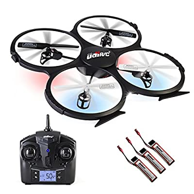 UDI U818A RC Quadcopter Drone for Beginners: Best RTF UAV Toy with 2.4GHz HD Camera & Video- Headless Mode, 6 Axis Gyro, Return Home Function- BONUS 2 Batteries Included (Black) by ToyThrill