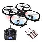 UDI U818A RC Quadcopter Drone for Beginners: Best RTF UAV Toy with 2.4GHz HD Camera & Video- Headless Mode, 6 Axis Gyro, Return Home Function- BONUS 2 Batteries Included (Black)