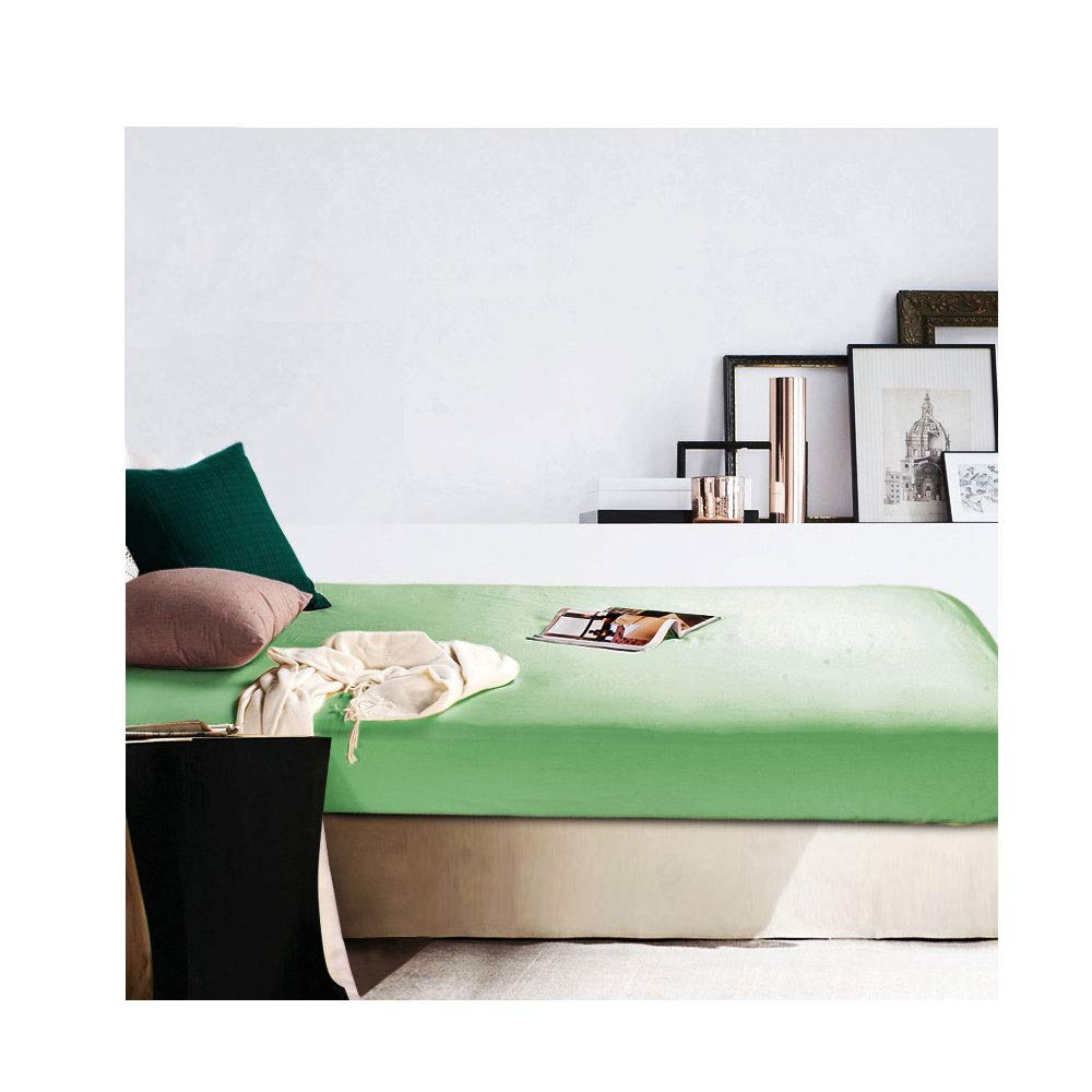 Count Fitted Bed Sheet/Microfiber Bed Sheets/100% Egyptian Cotton, 30CM Deep Finest Quality Bedsheets 10 Colours (Color : Green, Size : 180x200cm+30cm) by QWERTY