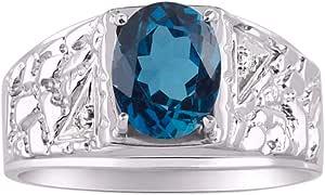 RYLOS - Anillo para hombre con gema ovalada y diamantes brillantes auténticos en plata de ley 925-9 x 7 mm