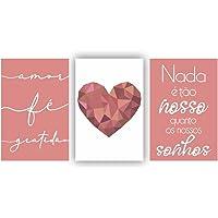 Kit Placas Quadros Decorativos Sala 3 Pçs 20x30 Coração Rose Escrito Branco