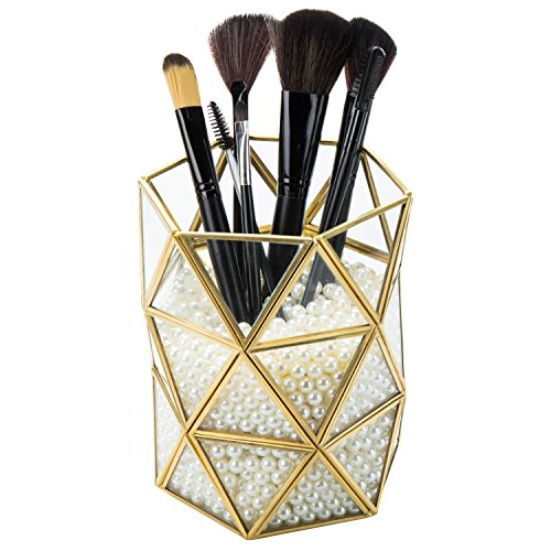 MyGift 6-Inch Geometric Gold-Tone Metal & Glass Makeup Brush Holder