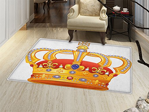 smallbeefly King Door Mat outside Royal Crown with Gem Like Image Symbol of Imperial Majestic Print Bathroom Mat for tub Non Slip Orange White Blue Marigold ()