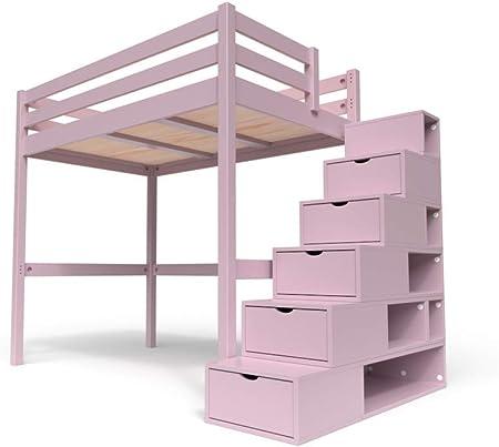 Scalette Per Letto A Castello.Abc Meubles Letto A Soppalco Sylvia Con Scala Cubo Cube Viola Pastello 120x200 Amazon It Casa E Cucina