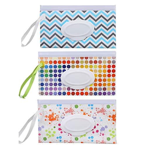 Dasing 3 stuks draagbare wet doekjes dispenser milieuvriendelijk herbruikbare baby reizen luier wipe draagtas houder