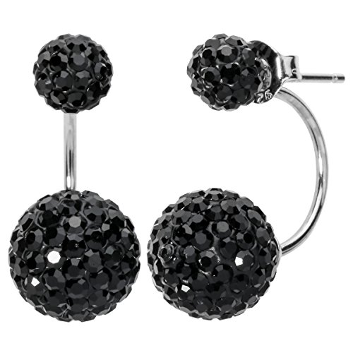 YACQ 925 Sterling Silver Crystal Double Disco Ball Ear Rings Ear Jacket Stud Earrings